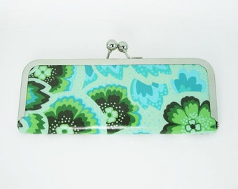 Laminated Peacock Feathers Credit Card Clutch, free shipping within the US