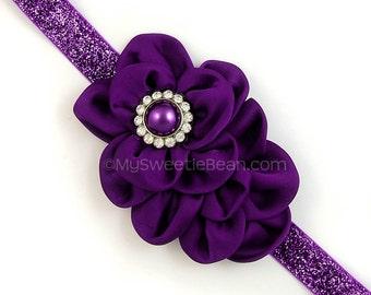 Purple Flower Headband, Purple Glitter Headband, Satin Flower Puff Headband for Girls, Adjustable, Dark Purple Satin Headband, Violet Purple