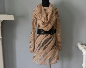 MOVING SALE - Original Champagne Textured Net Dress & Matching Scarf - XS
