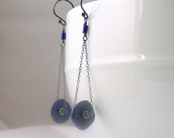 Lapis Wheel Dangle Earrings, Blue Disks on Gray Sterling Chains, Swingy Earrings, Original Artisan Design, Long Minimal Dangles