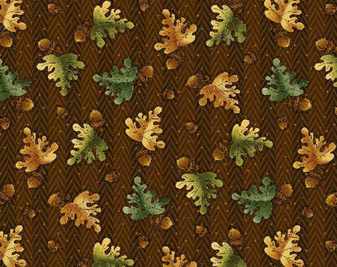 Children's Fabric by Clearwater Critters Brown Multi-color acorns cotton fabric coordinate to Critters cotton panel by Henry Glass.