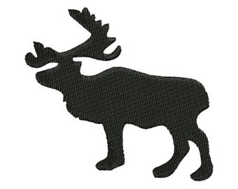 Moose Silhouette Shadow Machine Embroidery Designs 4x4 & 5x7 Instant Download Sale