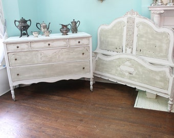 antique full bed and dresser shabby chic white grey distressed 2 piece set beach cottage CUSTOM ORDER