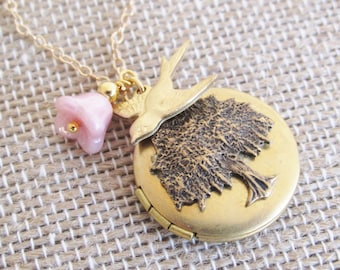 Gold Locket Necklace, Willow Tree Necklace, Mothers Locket, Tree And Bird Necklace, Willow Tree Locket Necklace, Round, Tree, Bird