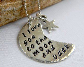 I love you to the moon and back sterling silver necklace, Handstamped Necklace, Personalized Gifts, by RosesDesigns