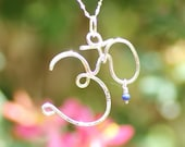 Sterling silver Om symbol necklace, wire wrapped yoga necklace, yoga Om necklace, Om jewelry