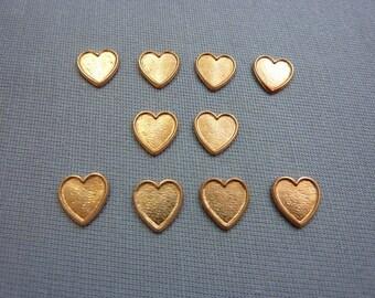 Vintage Copper Small Copper Hearts Tiny Hearts (10)