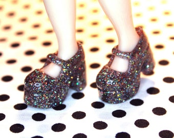 Blythe Multi glitter Platform Mary Jane Doll shoes
