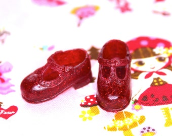 Blythe Red with Red Glitter T-Strap Mary Jane shoes