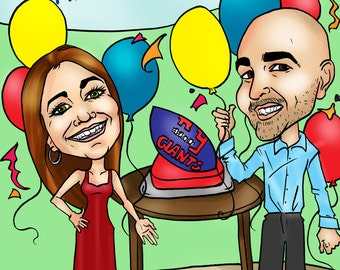 Personalized Birthday Digital Caricature by email, Custom Cartoon Caricature Birthday Gift Portrait, Cartoon Maker Online Photo Gift Order