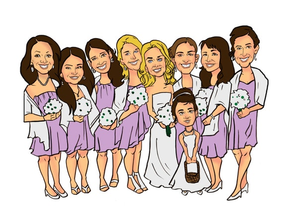 bridesmaid wedding party caricature
