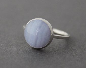 Statement Ring - Sterling Blue Lace Agate Ring - Size 7.75 US/CANADA