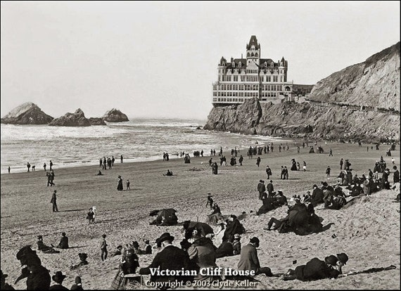 VICTORIAN CLIFF HOUSE, 1890s San Francisco, Barbary Coast, large 16x20 inch Fine Art Print, toned black and white, Clyde Keller Restoration