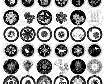 Black & White Winter Tidbits - 1.25 Inch Circles- INSTANT DOWNLOAD - Digital Collage Sheet