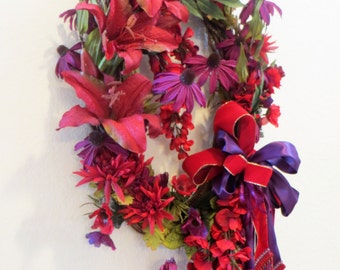 Autumn or Christmas Long Oval Door or Wall Wreath in Red and Purple with elegant Victorian beaded fringe & trim offset bow ready to ship