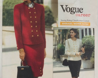 1990 Fashion Jacket and Skirt Sewing Pattern Vogue Career 2432 Nipon Boutique Bust 34, 36, 38 Size 12, 14, 16 UNCUT