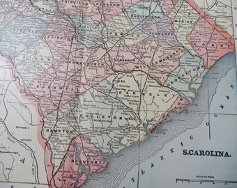 1901 State Map South Carolina - Vintage Antique Map Great for Framing 100 Years Old