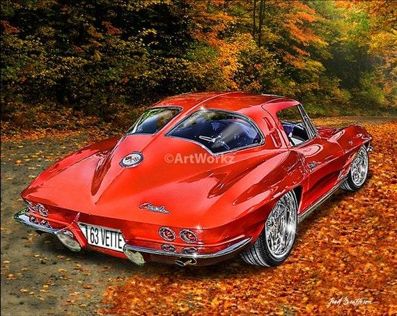 1963 corvette split rear window classic car print 8x10 for 1963 corvette split window model car