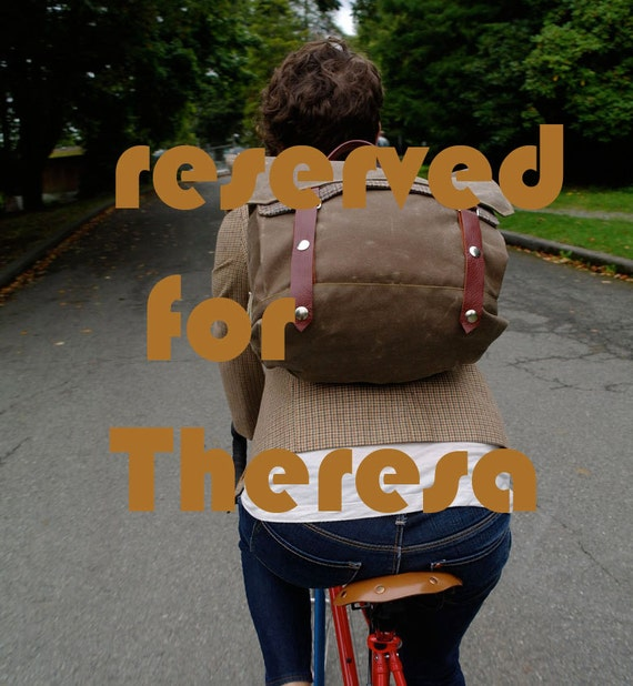 RESERVED FOR THERESA - Summer School Waxed Canvas Backpack