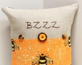 """Bee pillow- hand  embroidered on linen with bumblebee print- 'BZZZ"""", embellished with buttons"""