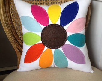 Rainbow Flower Pillow