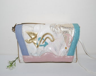 Vintage Purse Baroque and Pastels on White