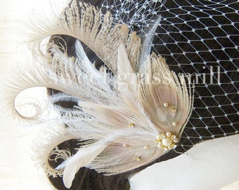 "Fascinator & Veil Set - Bleached Beige Peacock Ostrich Feather ""Champagne Soiree"" Great Gatsby Headpiece and Birdcage Veil"