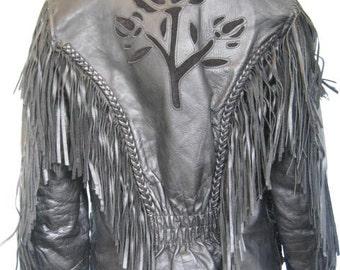Vintage Leather Jacket//Roses Embroidered//Black Motorcycle Biker//Fringe//size small