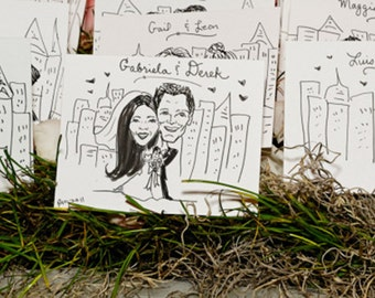 Caricature Place Cards Whimsical Wedding Decor