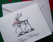 Stag, Deer, Elk Christmas Holiday Cards 10 Blank Cards Red Bow Green Wreath with Ivory Envelopes