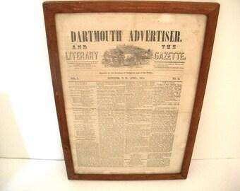 Antique Framed Newspaper Dartmouth New Hampshire