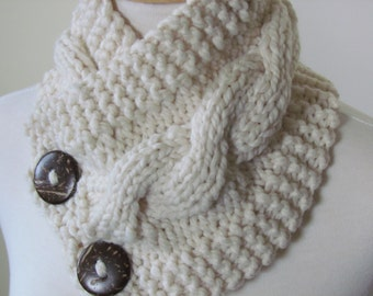 """Chunky Cable Neck Warmer Knit Thick Fisherman Scarf Wool Blend 6"""" x 25"""" - Cocconut Shell Buttons Ready to Ship - Direct Checkout"""