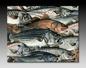 Surf Fish Ceramic Tile Wall Art