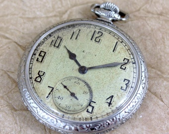 Vintage Elgin Pocket Watch - circa 1923 - 15 Jewel - 12 Size  - Deco Style Case - Steel Case - Mechanical Wind