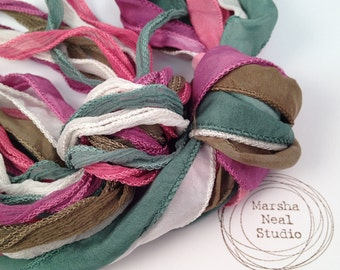 Hand Dyed Silk Ribbon - Silky Ribbon - Fairy Ribbon - Jewelry Supplies - Wrap Bracelet - Craft Supplies - Vintage Rose Color Palette