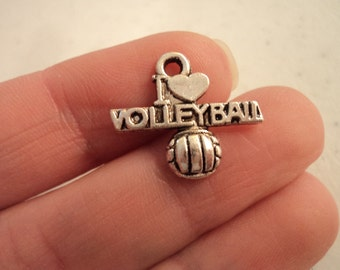 I Love Volleyball  - Set of 10 charms - #HI220