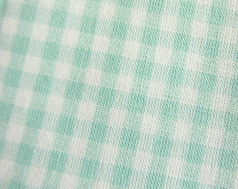 Japanese Fabric - Gingham Fabric in Mint Green - Cotton Fabric - Half Yard