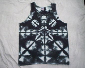 Mens Black 'n White Tie Dye Tank Choose Size