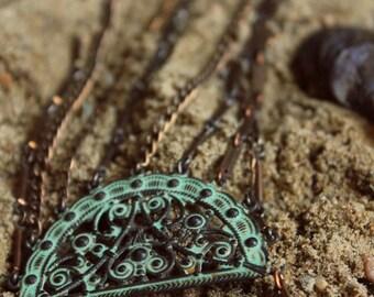 Tidefall. Verdigris Half Moon and Vintage Chain Anadem.