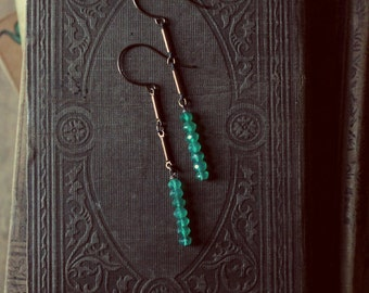 Archer. Vintage Brass and Green Agate Earrings.