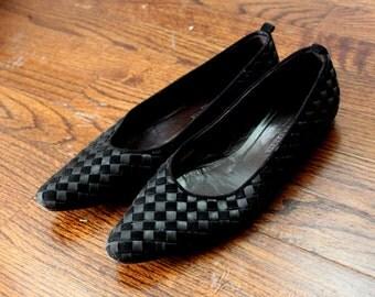 BOTTEGA VENETA Flats Shoes Basket Weave Flats Black Vintage