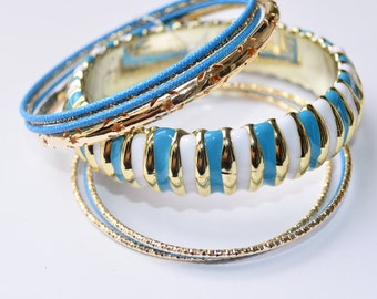 Blue Tone Bangles, Gold Multi Bangles,Fashion Bangles, Gift for Her, Modern Style Bracelets, Bangles in Blue Shades