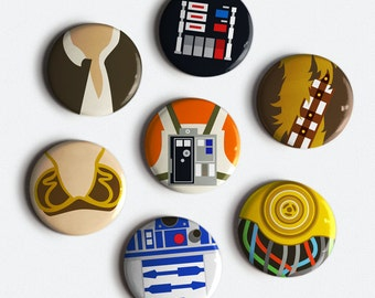 Star Wars Button Set 7 original illustrated minimalist style pinback buttons