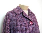 50s purple plaid winter coat. womens winter coat.
