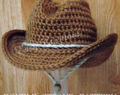 PDF CROCHET Pattern DOUBLE Strand Baby Cowboy, Cowgirl Hat Preemie, newborn to 6 month sizes Star Pattern included Digital Download