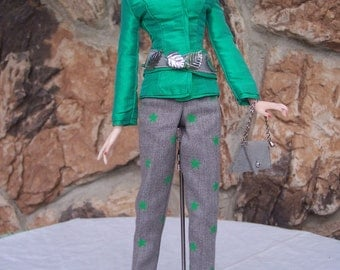 Jamieshow Girls - Sportswear in Green and Grey with Belt and Purse included