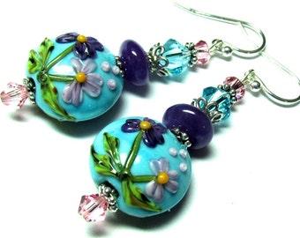 Floral Earrings Turquoise Earrings Purple Earrings Lampwork Earrings Glass Earrings Flower Earrings Artisan Earrings Beaded Earrings