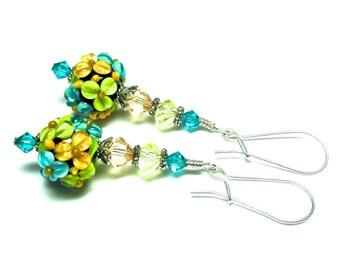 Green Peach Turquoise Flower Earrings Lampwork Earrings Round Bead Earrings Floral Earrings Glass Earrings Beaded Earrings Artisan Earrings