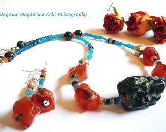 Ready for Life - Necklace with FREE EARRINGS / Carnelian , Apatite, Labradorite. Snowflake Obsidian and Black Tourmaline