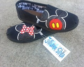 CHILDRENS/YOUTH BLACK Minnie and Mickey Mouse Shoes SiZES y12 -  y6 - New Black Toms Shoes lNCLUDED